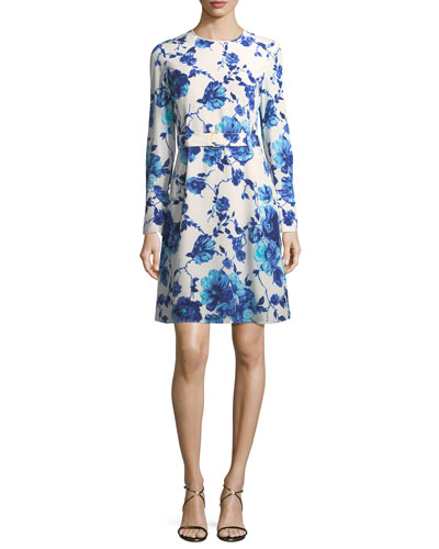 Giovanna Long-Sleeve Lili Floral Silk Dress