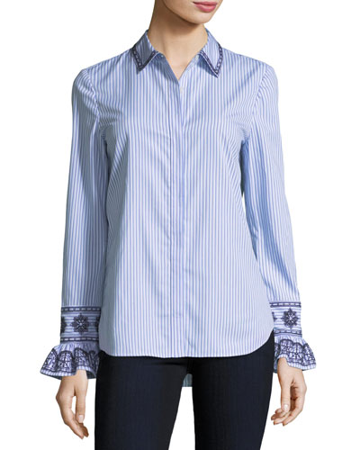 Paige Ombre-Striped Embroidered Button-Front Shirt