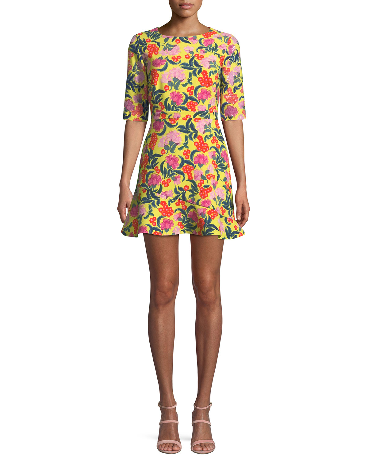 Celia-C Elbow-Sleeve Printed Mini Dress in Yellow Azalea/Azalea