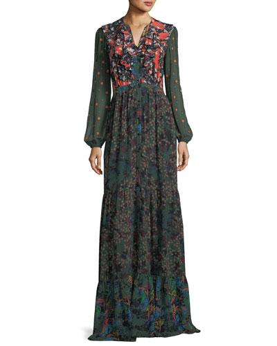Ginny Floral-Print Button-Front Silk Maxi Dress