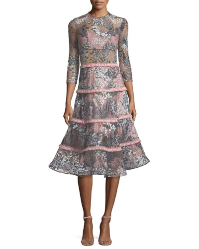 Ruth Embroidered Long-Sleeve Illusion Cocktail Dress