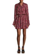 Elizavetta Long-Sleeve Printed Mini Dress