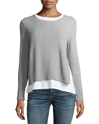 Ellie Rib-Knit Layered Sweater