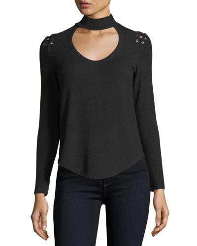 Jojo Choker Lace-Up Long-Sleeve Sweater
