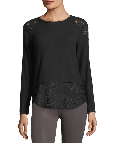 Marissa Long-Sleeve Top w/ Lace