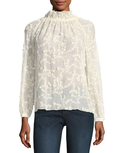 Ellie Embroidered Semisheer Silk Top