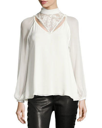 Through The Looking Glass Mock-Neck Silk Blouse w/ Lace