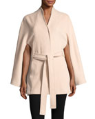 Suri Alpaca Stand-Collar Button-Front Belted Cape, One Size