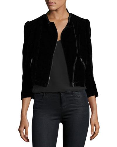 Velvet Zip-Front Motorcycle Jacket