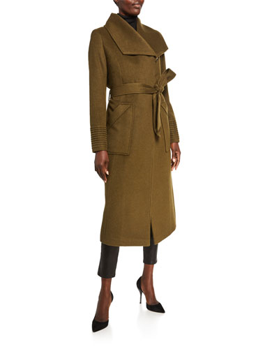 Baby Alpaca Long Wide-Collar Wrap Coat
