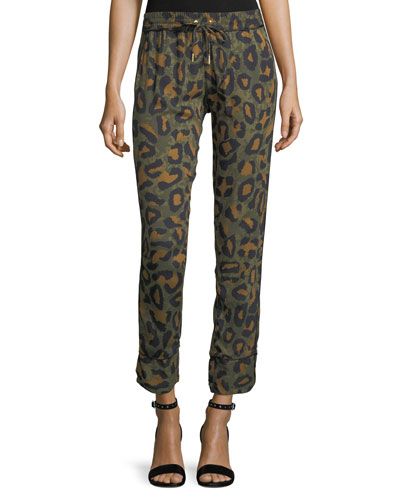 Parone Leopard-Print Drawstring Jogger Pants