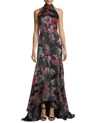 Floral-Print Halter Sleeveless Evening Gown