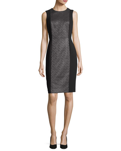 Sleeveless Metallic Tweed Cocktail Dress