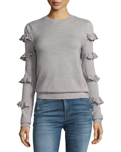 Striped Crewneck Long-Sleeve Tee w/ Ruffled Trim