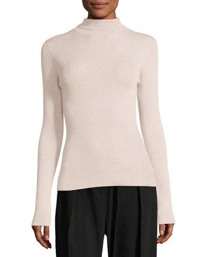 Metallic Rib-Knit Pullover Turtleneck Sweater