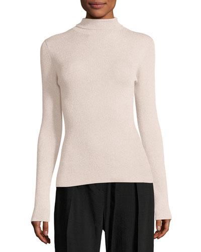 Metallic Rib-Knit Pullover Turtleneck Sweater