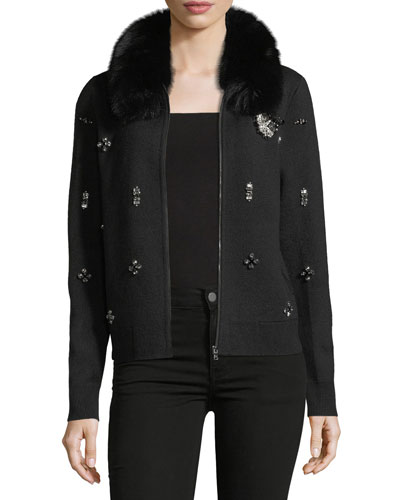 Tiana Knit Jacket w/ Fox Fur Collar & Crystal Trim