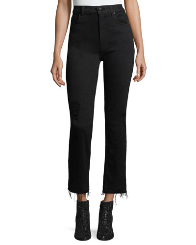 Leah High-Waist Straight-Leg Jeans w/ Raw Hem