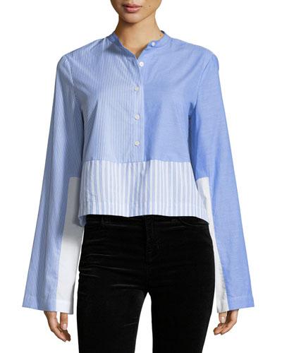 Long-Sleeve Button-Front Mixed Stripe Tuxedo Shirt