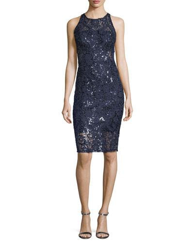 Embellished Lace Sleeveless Sheath Cocktail Dress