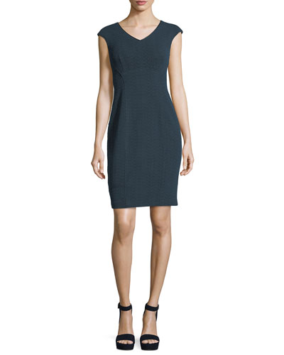 Sophia V-Neck Cap-Sleeve Textured Sheath Dress