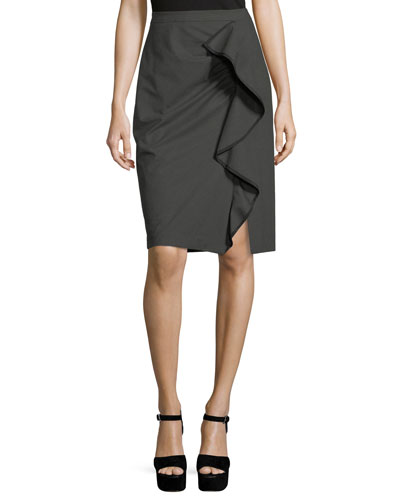 Carley Pencil Skirt w/ Ruffled Frill