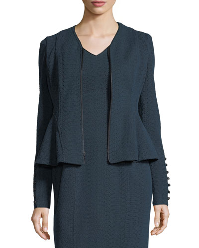 Ava Zip-Front Textured Knit Jacket