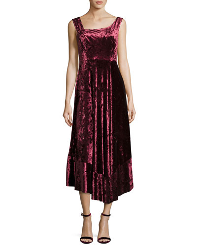 Vixen Asymmetric-Neck Sleeveless Velvet Dress