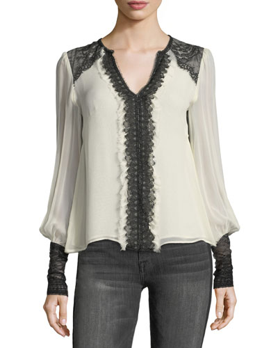 Henrietta Split-Neck Silk Blouse w/ Lace