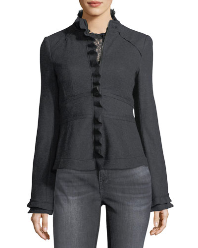 Caroline Zip-Front Wool Jacket w/ Ruffled Trim