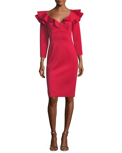 Ruffle-Shoulder Long-Sleeve Neoprene Cocktail Dress