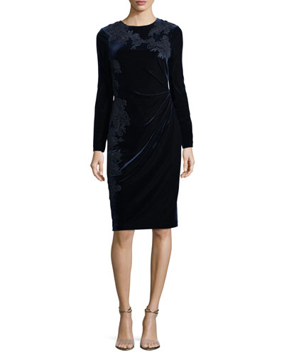 Jewel-Neck Long-Sleeve Velvet Cocktail Dress w/ Lace Appliques