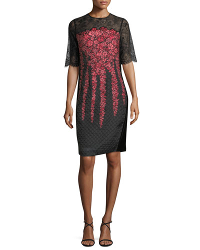 Lace-Yoke Half-Sleeve Cocktail Dress
