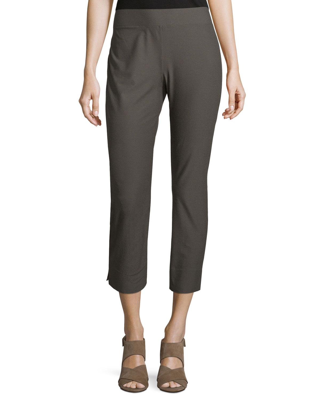 Stretch-Crepe Side-Slit Ankle Pants
