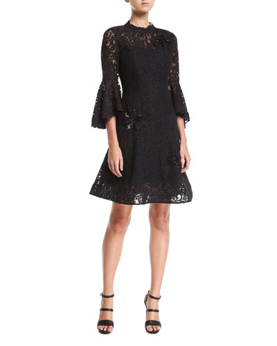 Lace High-Neck Fit-and-Flare Cocktail Dress w/ Appliques