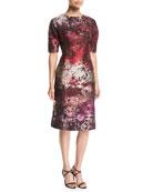 Elbow-Sleeve Jacquard Cocktail Dress w/ Beaded Applique