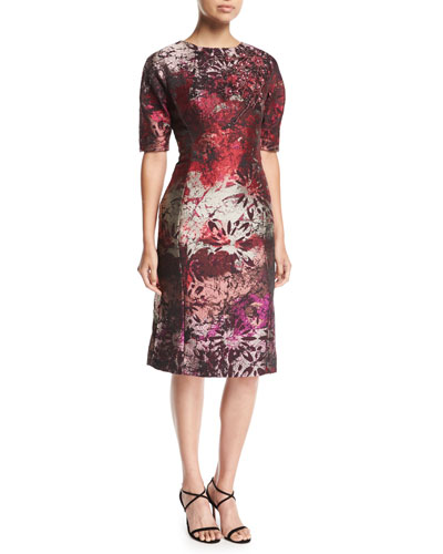 Elbow-Sleeve Jacquard Cocktail Dress w/ Beaded Applique