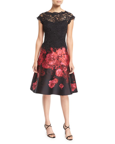 Lace Top Cap-Sleeve Floral Jacquard Cocktail Dress
