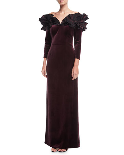 Off-the-Shoulder Taffeta Ruffle Velvet Evening Gown