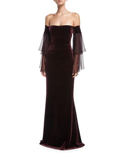 Off-the-Shoulder Chiffon Sleeve Velvet Evening Gown