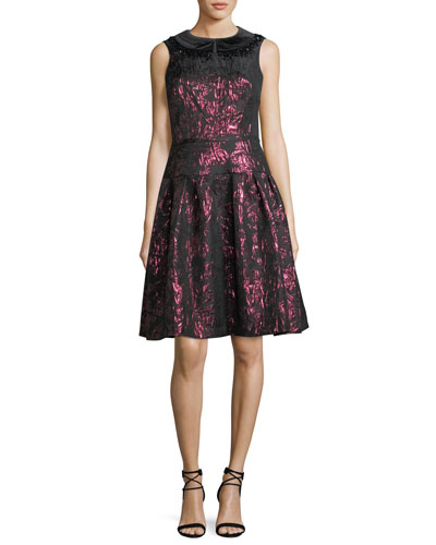 Sleeveless Velvet Collar Metallic Jacquard Cocktail Dress