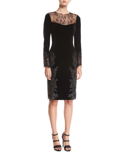 Long-Sleeve Lace Velvet Sheath Cocktail Dress