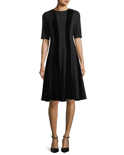 Short-Sleeve Velvet Panel A-Line Cocktail Dress