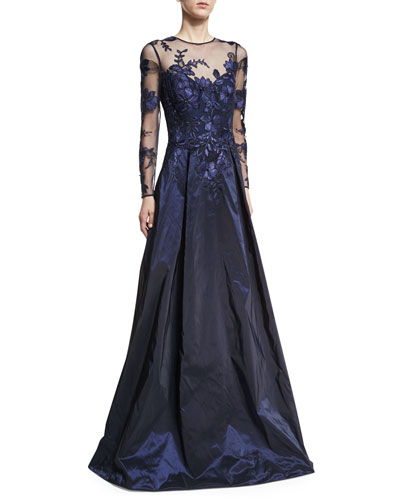 Long-Sleeve Illusion Lace Taffeta-Skirt Evening Gown
