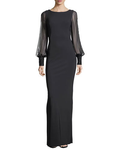Chiffon Sleeves Beaded Cuffs Column Scuba Evening Gown