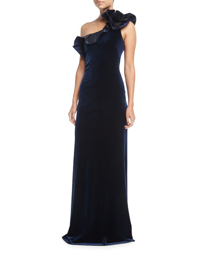 One-Shoulder Taffeta Ruffle Velvet Evening Gown