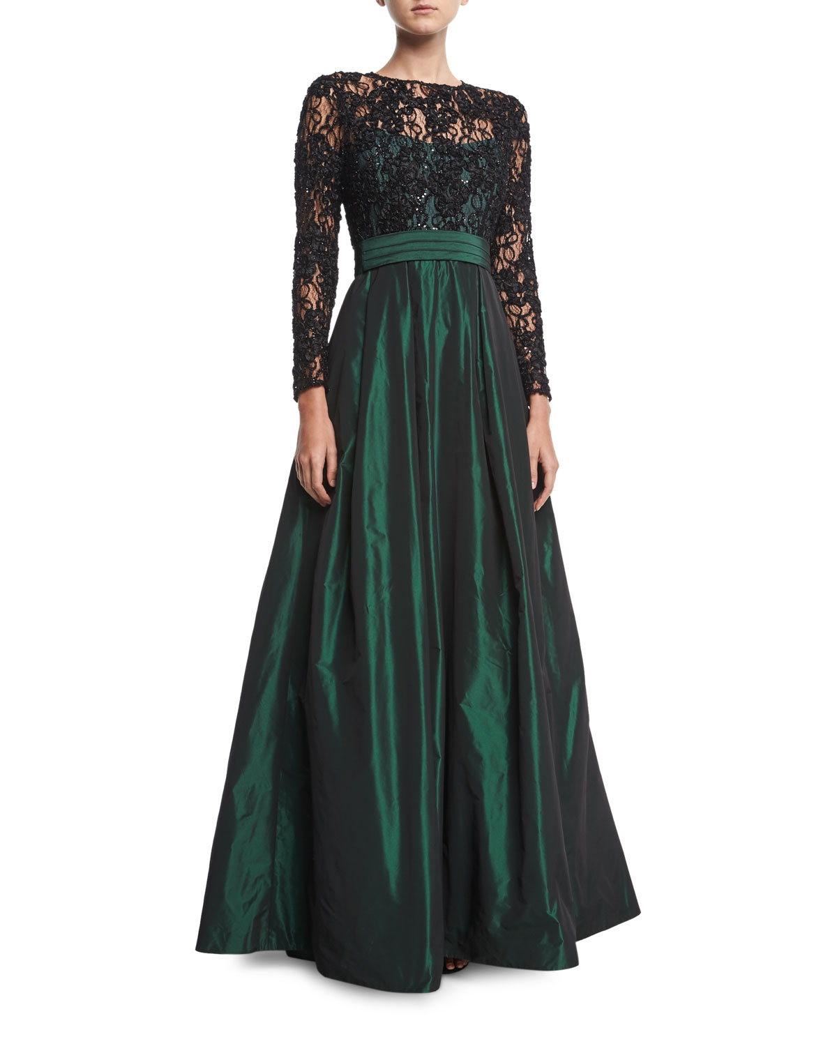 Lace Long-Sleeve Beaded Top Taffeta Full Skirt Evening Gown
