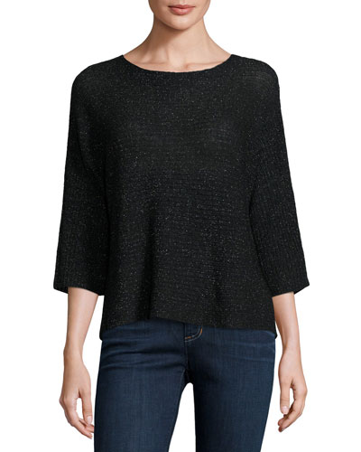 3/4-Sleeve Shimmer Wool-Blend Top, Black