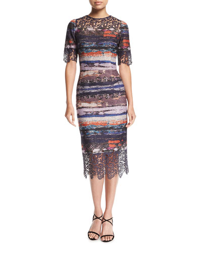 Elbow-Sleeve Printed Jacquard Sheath Cocktail Dress w/ Lace