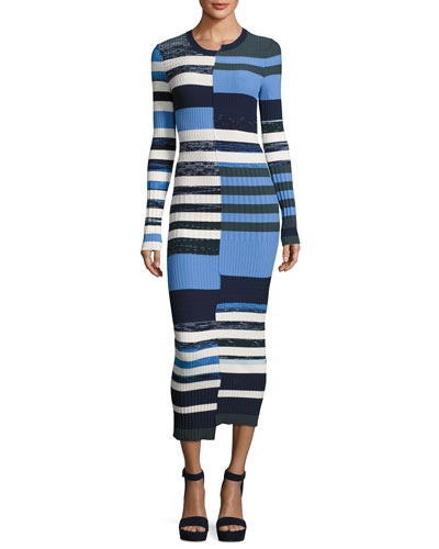 Opening Ceremony Bias - cut Striped Space - dye Maxi Sweater Dress
